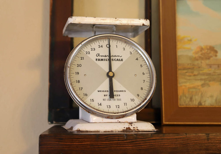 antiques used in a cottage style home. vintage scale
